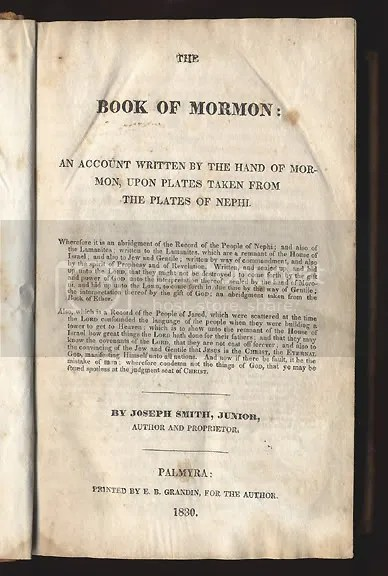 Title Page--First Edition Book of Mormon