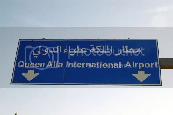 Queen Alia International Airport Sign