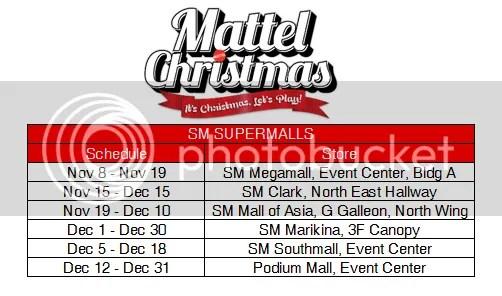 Mattel Christmas Mall Schedules