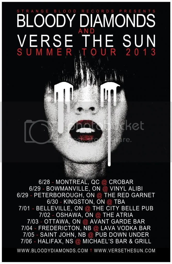 Bloody Diamonds + Verse The Sun Summer Tour Poster