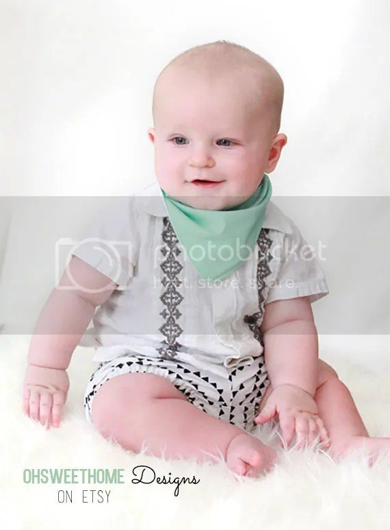 Robin egg reversible bandana bib by OhSweetHome Designs on Etsy