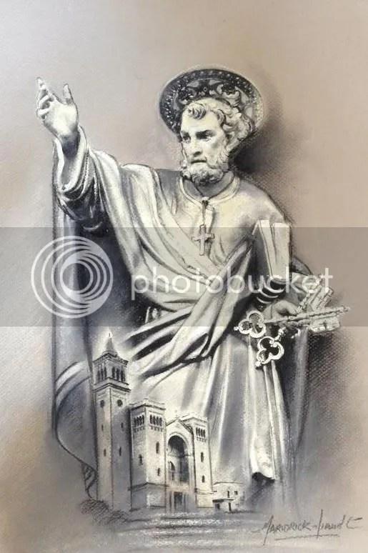 San Pietru Appostlu jiddomina u jipproteġi l-parroċċa tiegħu ta' Birżebbuġa.  Din hija biċċa xogħol maħduma bil-ġibs u charcoal mill-artist Mariorick Mifsud.  Din hija biċċa xogħol fl-arti sabiħa ħafna u hija proprjetà ta' Ludwig Desira.