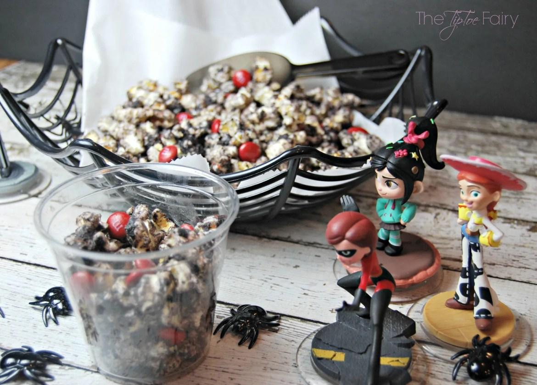 Black Widow Popcorn | The TipToe Fairy #InfinityHeroes #CollectiveBias #shop #popcornrecipes #cakebatterpopcorn #popcorntreat #blackwidow #marvel