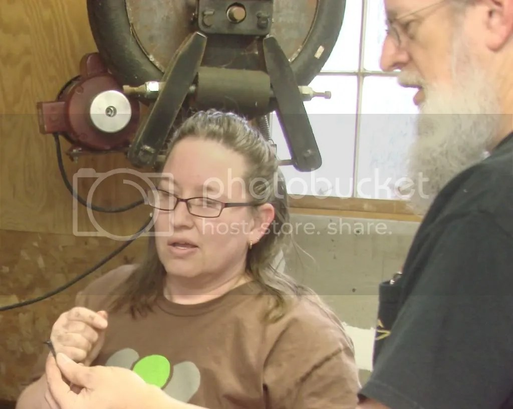 Angi Parrish from the Alamance Makers Guild Inspects her First Nail
