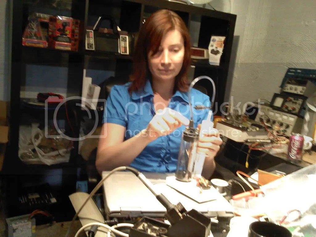 """Jeri Ellsworth in her new """"Nerd Dungeon"""" reviewing Reinventing Edison (image by Simon Langhof)"""