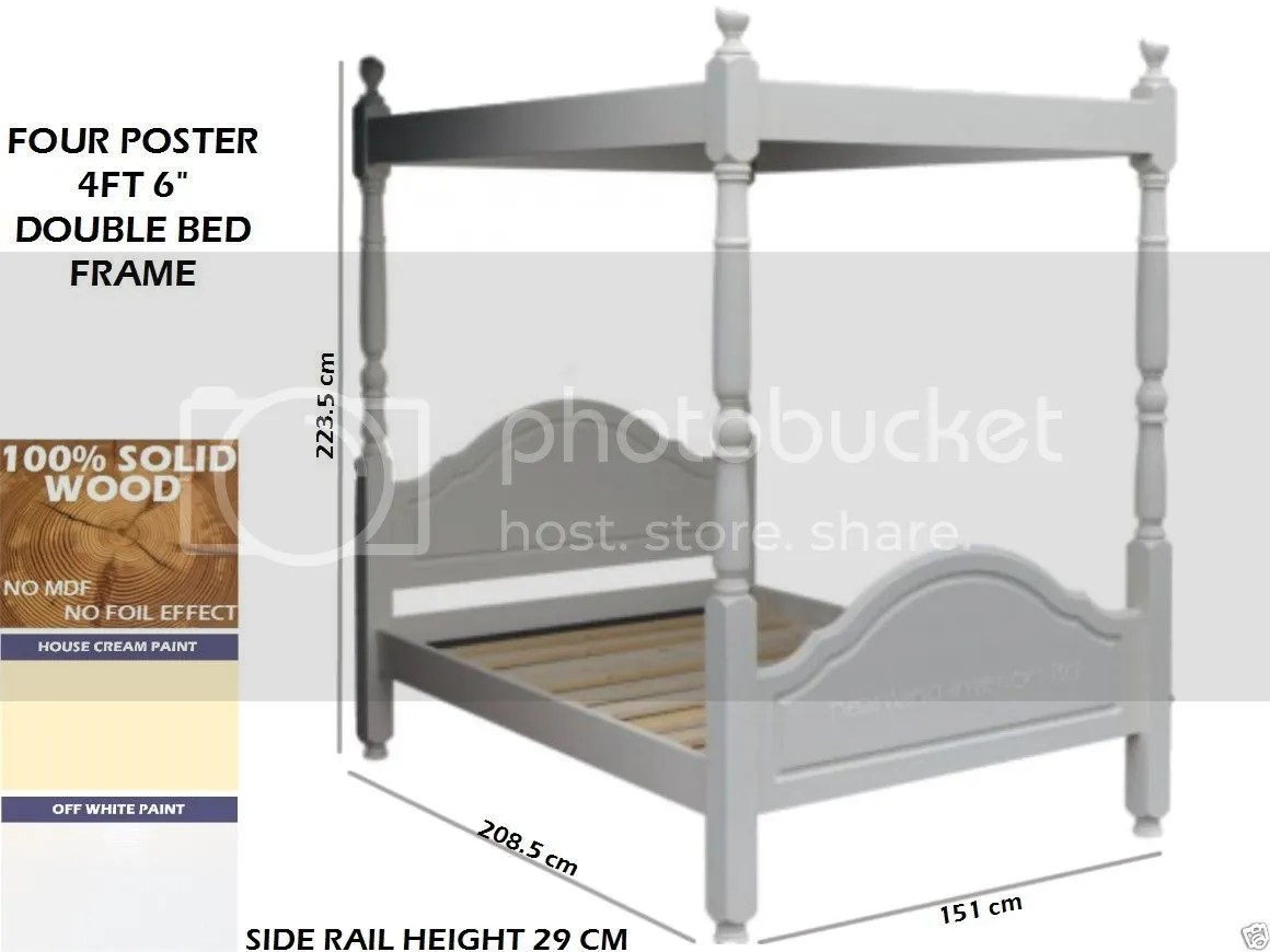 White Painted Bed Frame Solid Wood Four Poster Bed