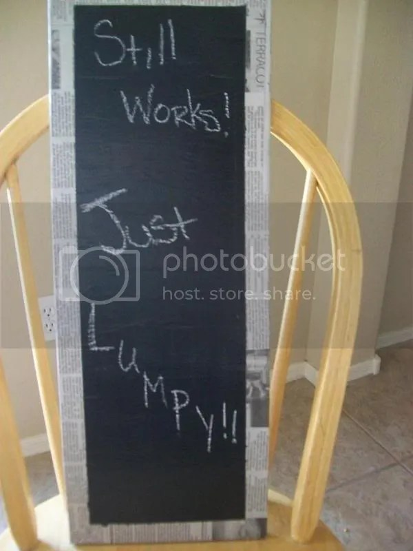 Homemade chalkboard craft with newspapers