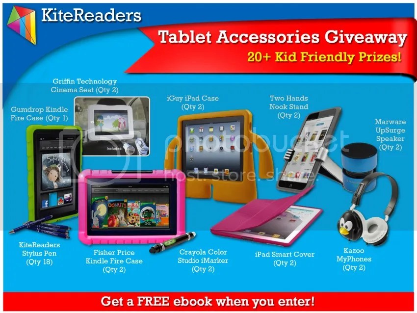 Kitereaders Tablet Accessories Giveaway on Lauriebell's Bakery & Cafe blog including iGuy iPad Case, Two Hans Nook Stand, Marware UpSurge Speaker, Griffin Technology Cinema Seat, Gumdrop Kindle Fire Case, KiteReaders Stylus Pen, Fisher Price Kindle Fire Case, Crayola Color Studio iMarker, iPad Smart Cover and Kazoo MyPhones