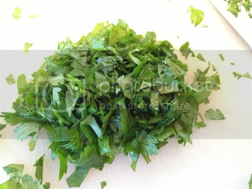 Finely chopped parsely for herb butter to coat your chicken.