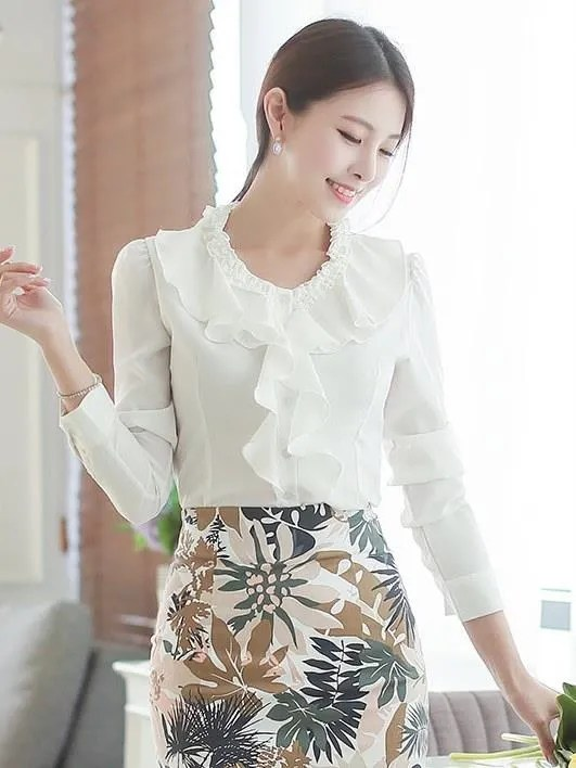 獨特領口荷花蕾絲 OL襯衫 OL上衣 雪紡衫 wcps50_OL套裝 白襯衫 面試_女裝_CPshirt