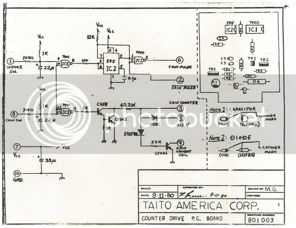 Taito Space Invaders Trimline Schematics