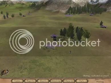 La vista del mapa, donde tu party está representado por un loco a caballo, con esto se recorre las tierras en que se ambienta el juego.