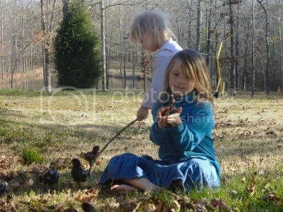 Mary & Elizabeth playing with chicks