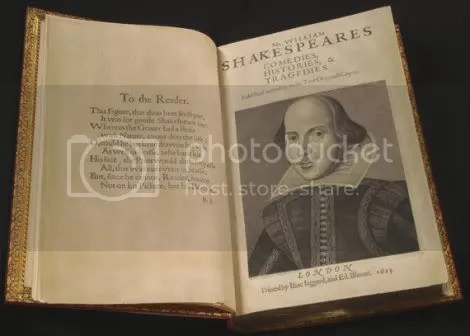 This is the first printed edition of Shakespeare's collected plays, now at Cornell University Library