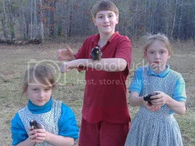 Joseph, Abigail and Mary with chicks
