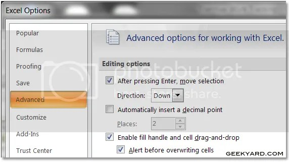 Enable Cell Drag and Drop Option in Ms Excel 2007