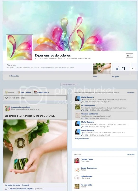 Facebook de Experiencias de Colores, Blog