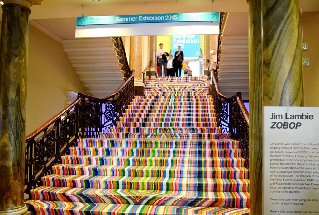Jim Lambie Zobop coloured staircase RA Summer Exhbition