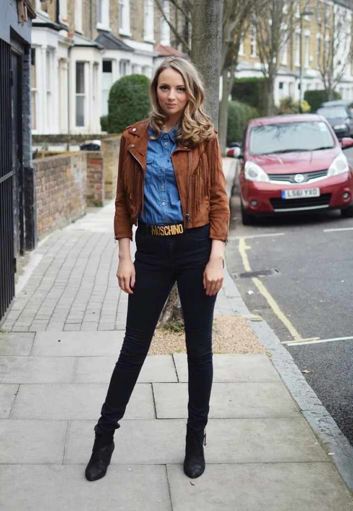 Bershka Fringed Jacket | MOSCHINO Belt | The LDN Diaries