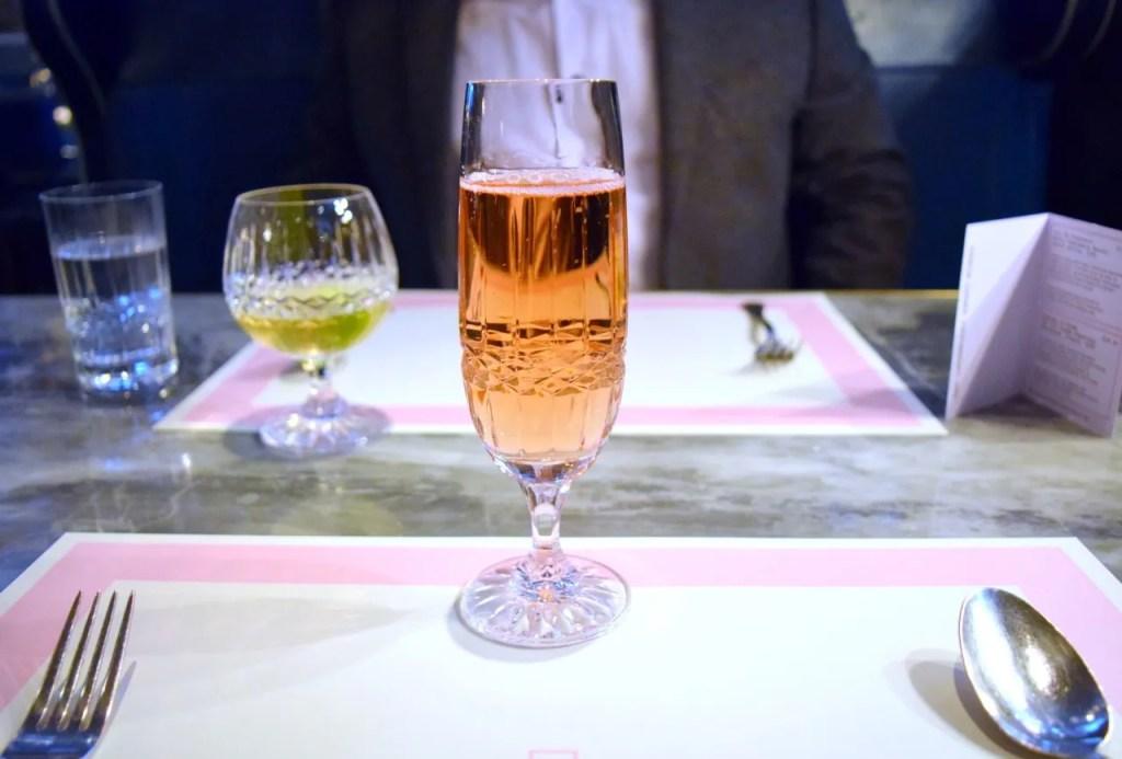 Rose champagne at Bob Bob Ricard