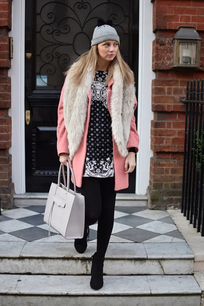 Motel dress, Miss Selfridge coat, Kate Spade hat and Rebecca Minkoff bag - The LDN Diaries