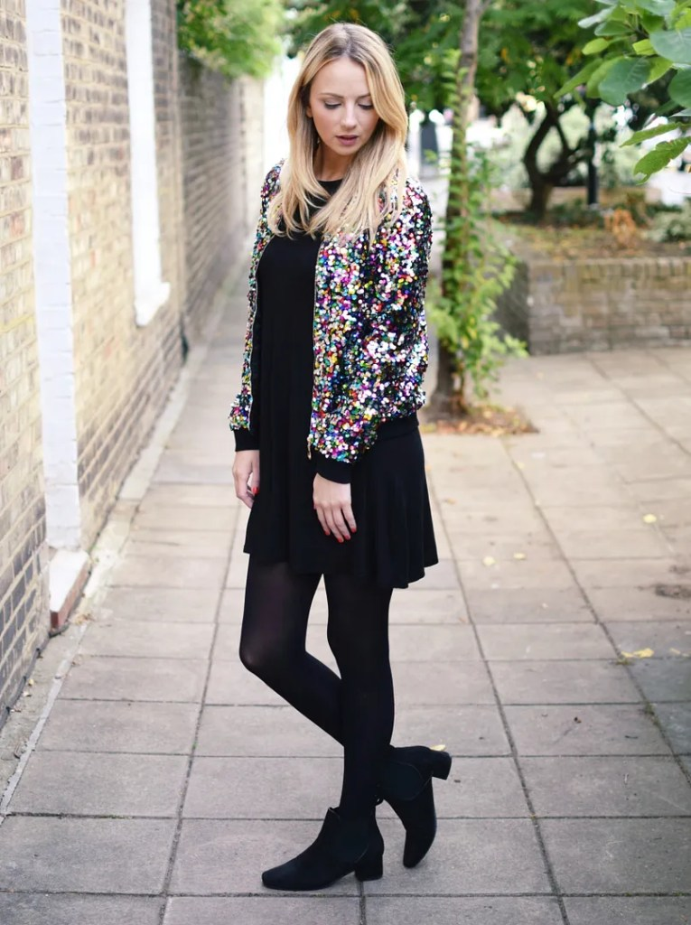 Boohoo Sequin Bomber Jacket | Scholl Light Legs | ASOS Dress