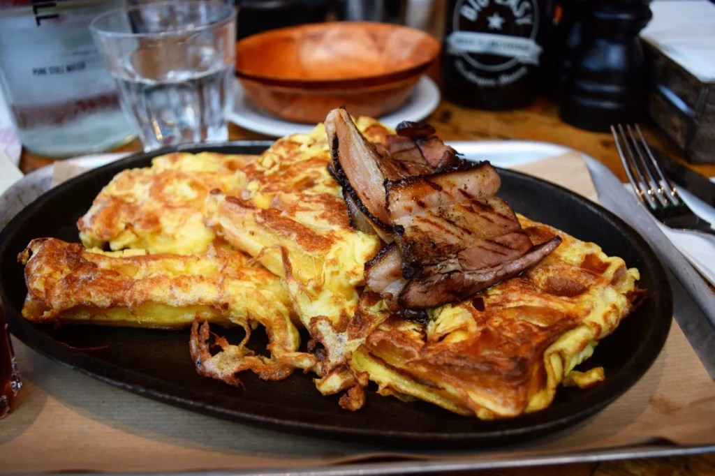 Waffled eggy bread and bacon