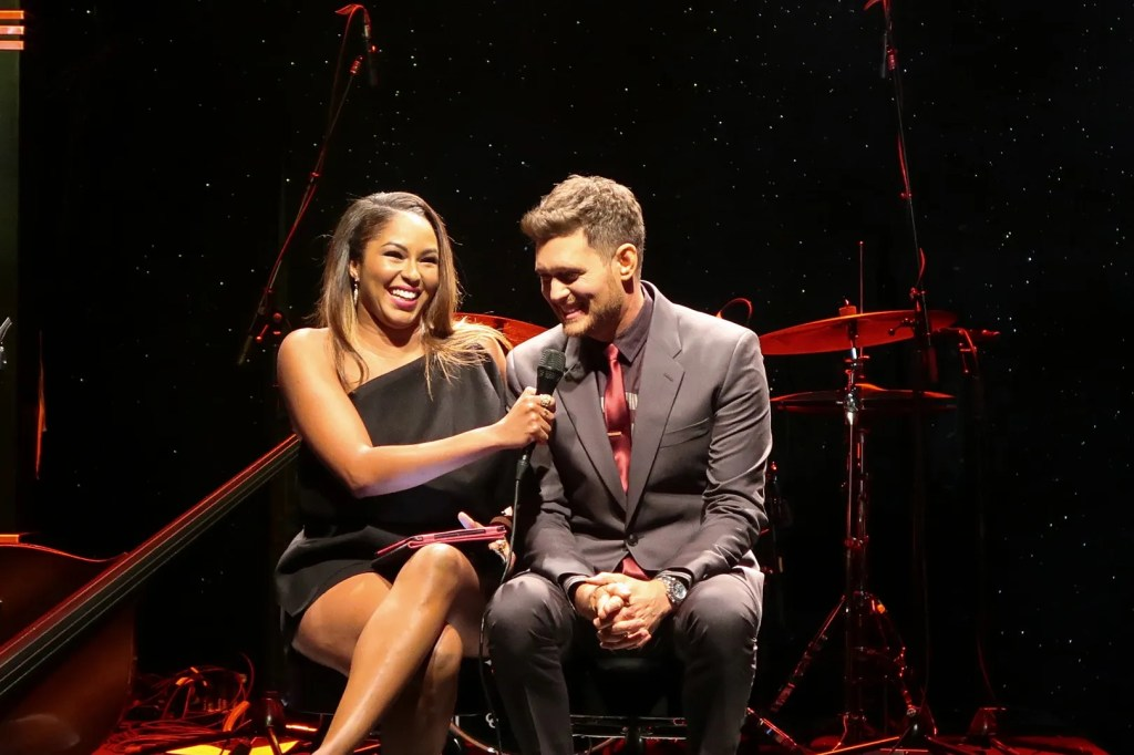 Michael Buble being interviewed at By Invitation perfume launch