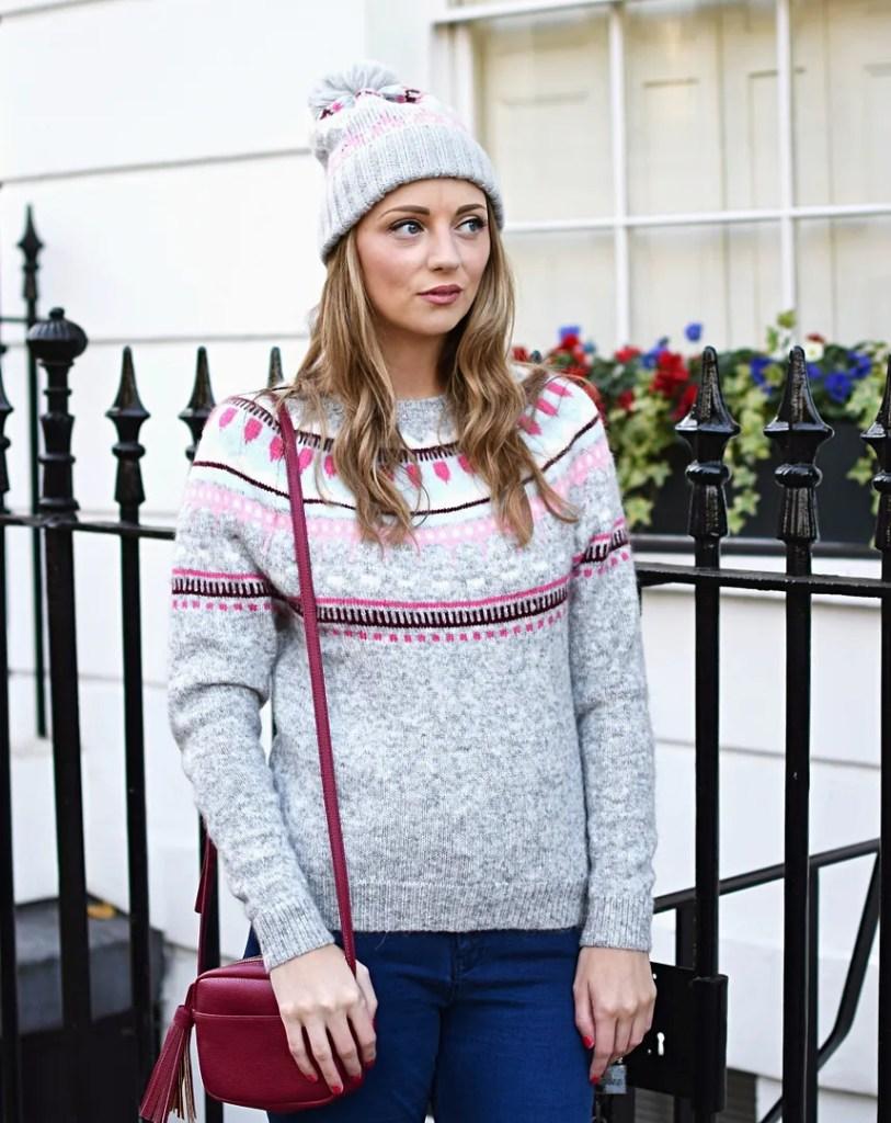 GAP fairisle sweater in grey and pink | UK fashion blog