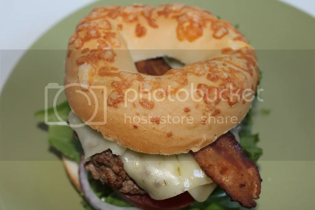 Jalapeno Jack Bacon Cheeseburger on Asiago Cheese Bagel
