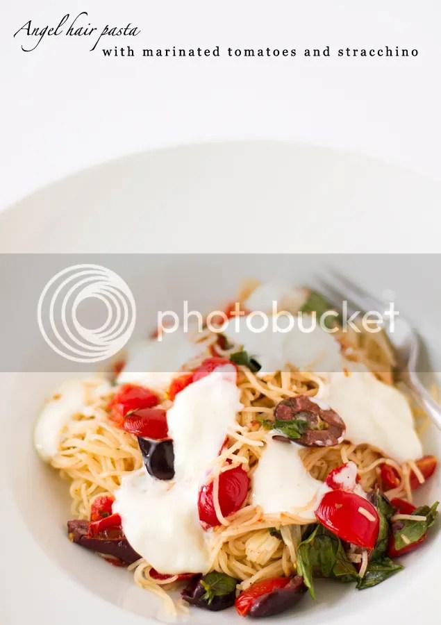 Angel hair pasta with marinated tomatoes and stracchino