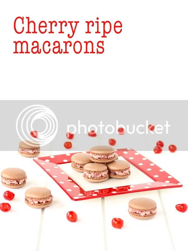 cherry ripe macarons