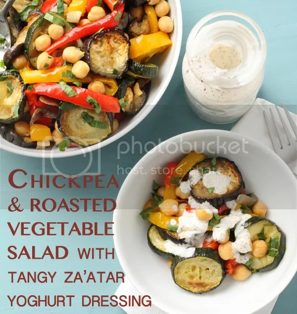 Chickpea & roasted vegetable salad with tangy za'atar yoghurt dressing
