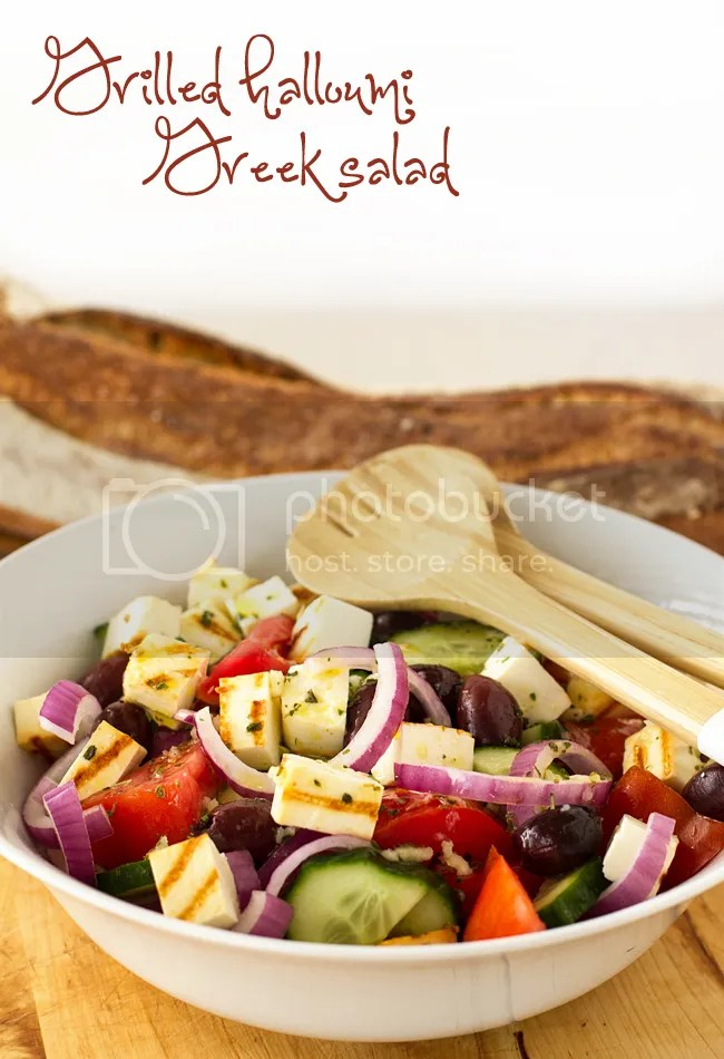 Grilled halloumi Greek salad