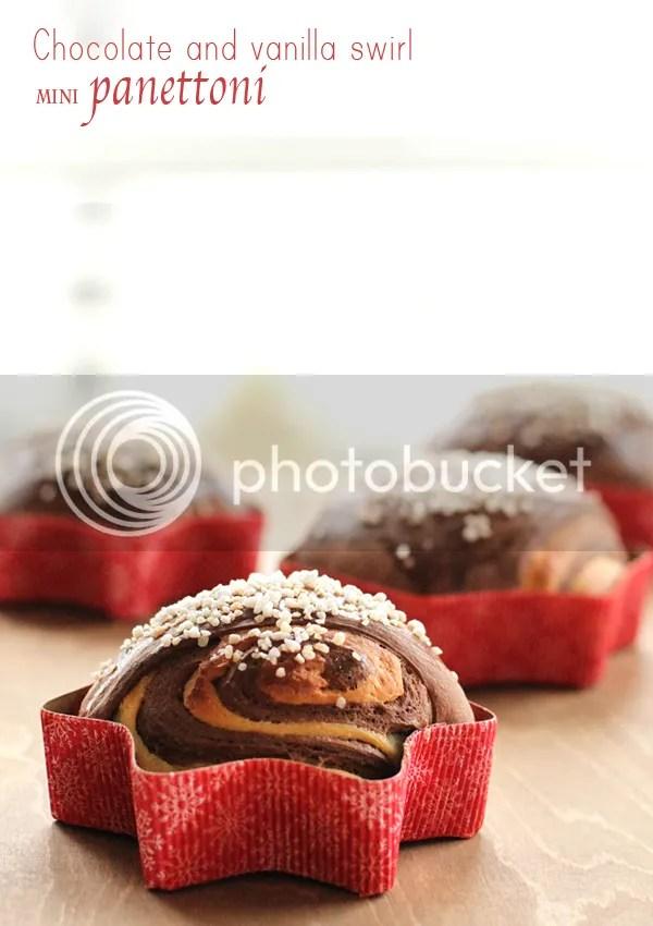 Chocolate and vanilla swirl mini panettoni