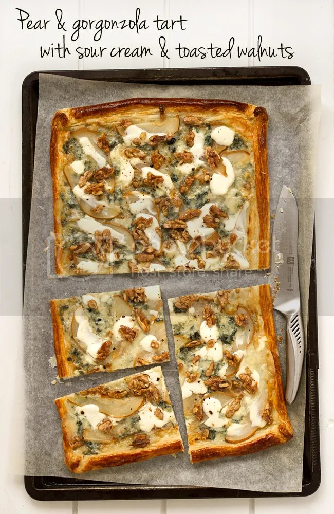 Pear and gorgonzola tart with sour cream and toasted walnuts