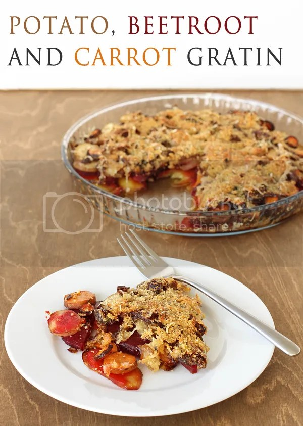 potato beetroot carrot gratin