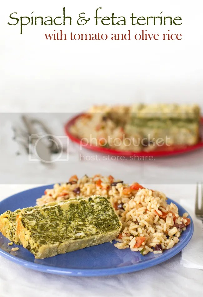 Spinach & feta terrine with tomato & olive rice