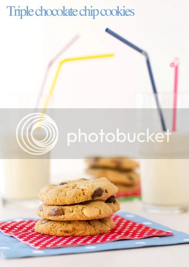 Triple chocolate chip cookies (eggless)