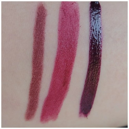 NYX Simply Vamp Lip Cream Aphrodisiac NYX High Voltage lipstick in Wine & Dine NYX Intense Butter Gloss in Black Cherry Tart