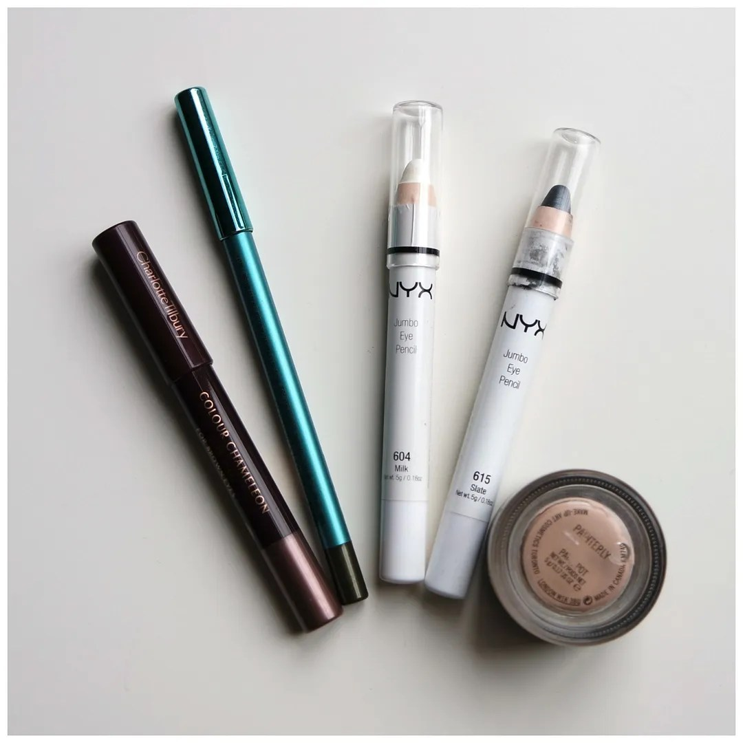 Charlotte Tilbury Colour Chameleon Dark Pearl MAC Pearlglide Intense Eyeliner Black Line NYX Jumbo Eye Pencil Milk NYX Jumbo Eye Pencil Slate MAC Paintpot Painterly