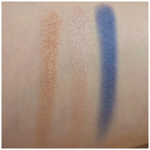 Catrice Prêt à Lumière longlasting eyeshadow 020 prêt-à-perlé, 050 La Vie En Rose, 090 Allez Les Bleus swatch