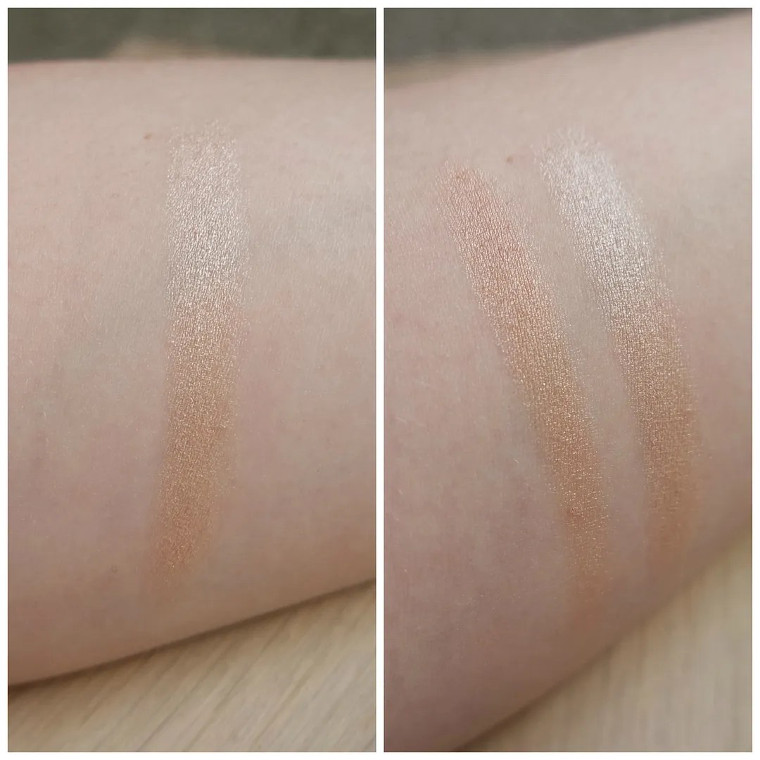 Essence Lights of Orient Highlighter Stick 01 Golden Gate to Orient compared to Benefit Watts Up