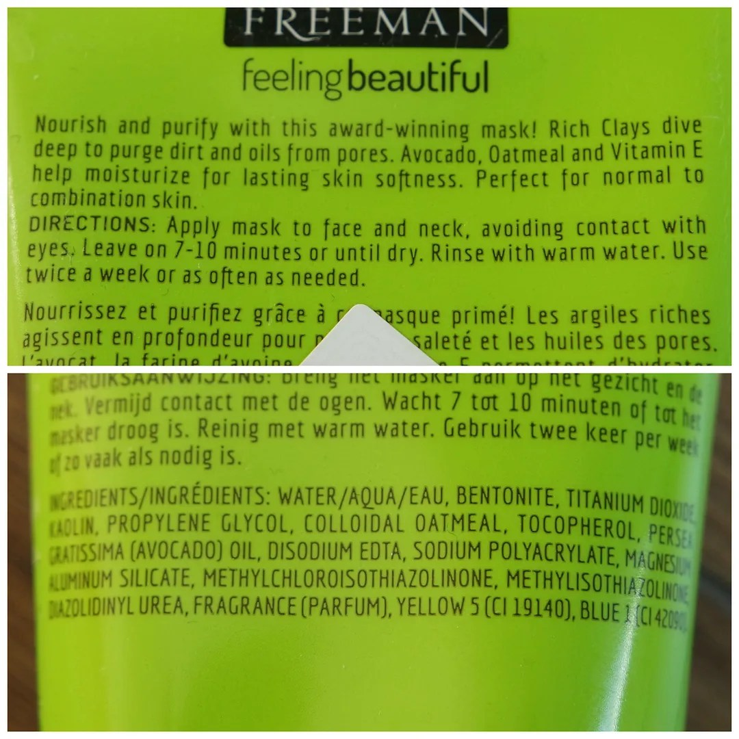 freeman avocado clay mask review swatch skincare