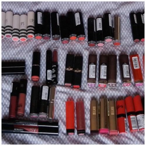 makeup declutter lip products lipstick lip balm liquid lipstick lipgloss