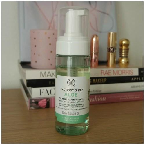 the body shop aloe vera calming foaming face wash skincare sensitive skin review swatch