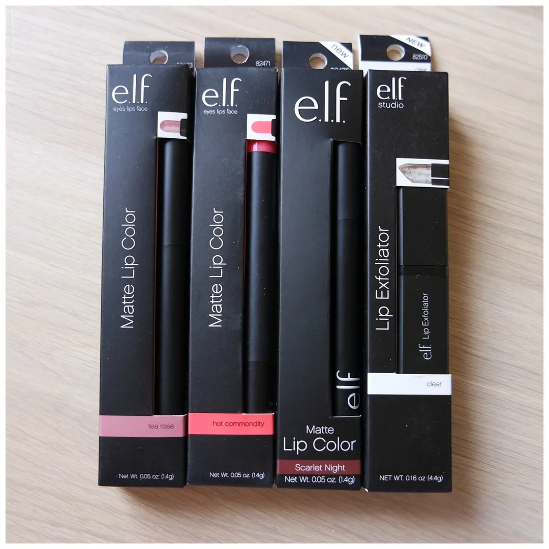 elf matte lip color lip exfoliator lipstick review swatch tea rose hot commodity scarlet night