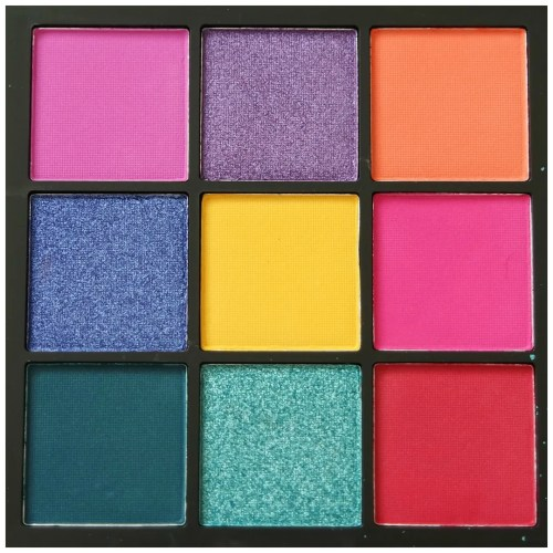 huda beauty electric obsessions review swatch eyeshadow palette bright rainbow colorful