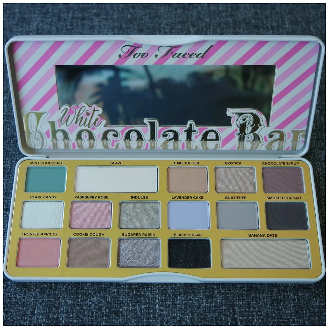 too faced white chocolate bar eyeshadow palette review swatch