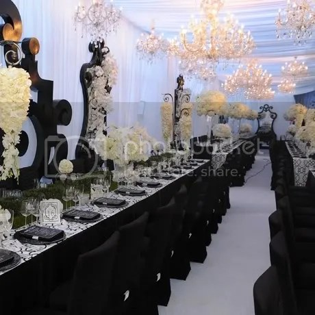 When It Came To The Reception Kim Made Clear Her Wedding Was Gigantic And Glamorous Strong Black Chairs Table Settings Framed Mirrors Were
